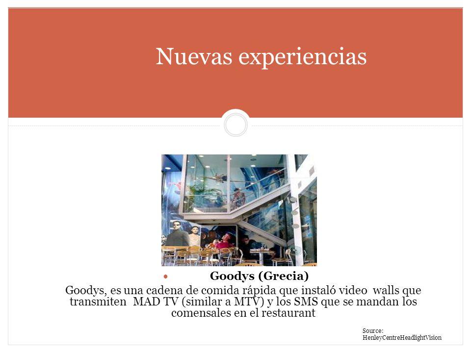 Nuevas experiencias Goodys (Grecia) Goodys, es una cadena de comida rápida que instaló video walls que transmiten MAD TV (similar a MTV) y los SMS que