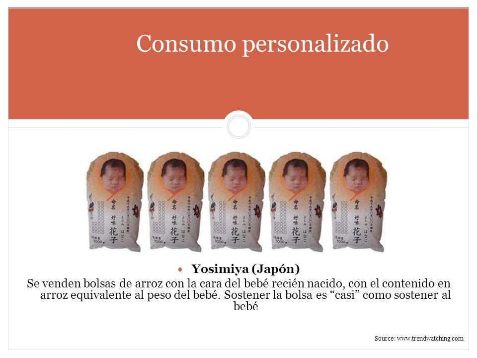 Consumo personalizado Yosimiya (Japón) Se venden bolsas de arroz con la cara del bebé recién nacido, con el contenido en arroz equivalente al peso del
