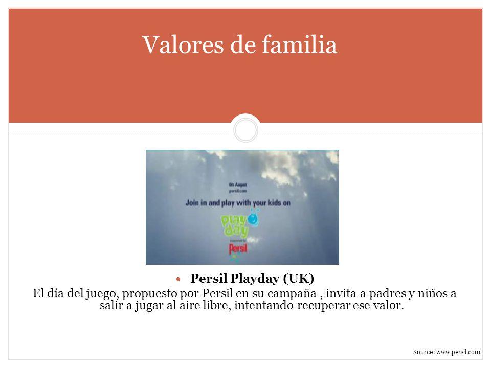 Valores de familia Persil Playday (UK) El día del juego, propuesto por Persil en su campaña, invita a padres y niños a salir a jugar al aire libre, in
