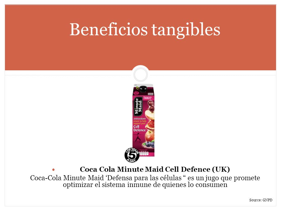 Beneficios tangibles Coca Cola Minute Maid Cell Defence (UK) Coca-Cola Minute Maid Defensa para las células es un jugo que promete optimizar el sistem