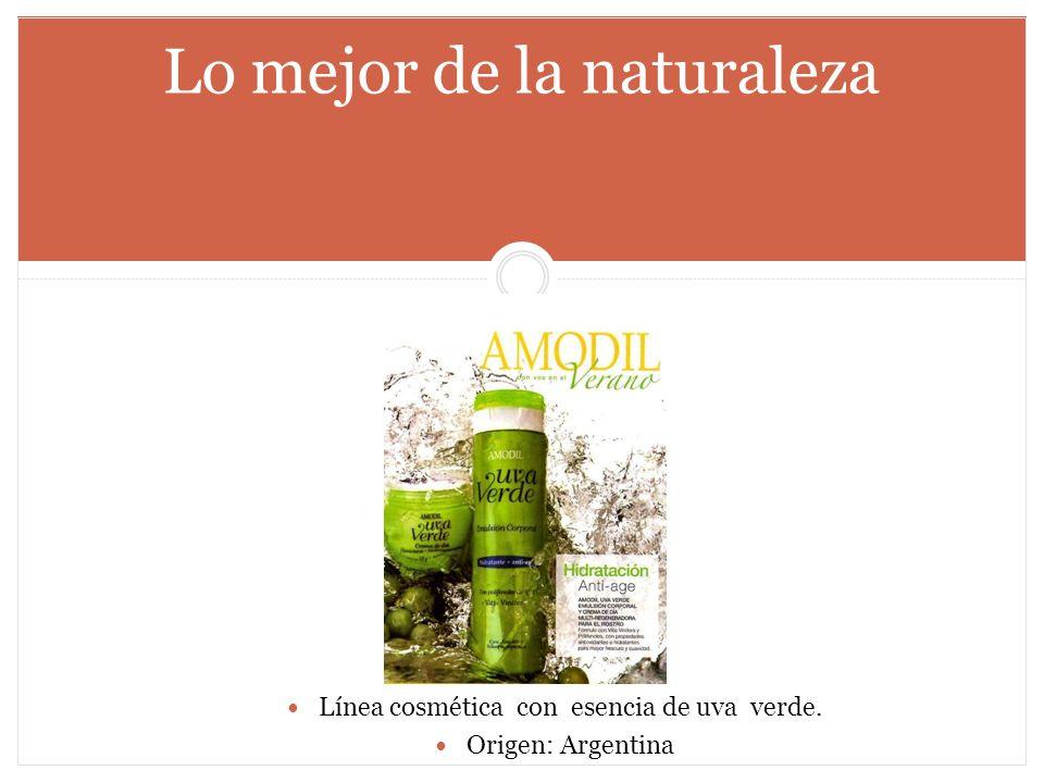 Lo mejor de la naturaleza Línea cosmética con esencia de uva verde. Origen: Argentina