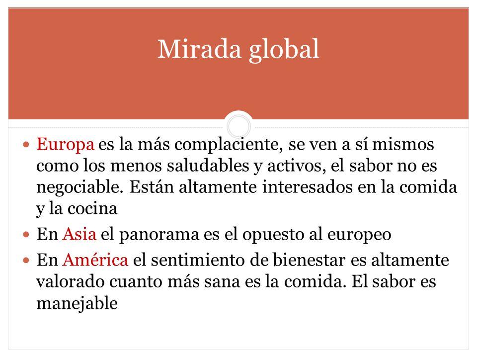 Mirada global Europa es la más complaciente, se ven a sí mismos como los menos saludables y activos, el sabor no es negociable. Están altamente intere