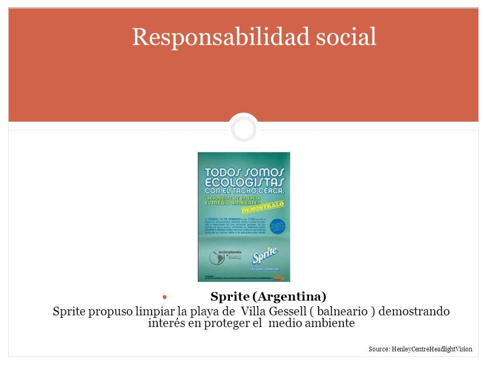 Responsabilidad social Sprite (Argentina) Sprite propuso limpiar la playa de Villa Gessell ( balneario ) demostrando interés en proteger el medio ambi