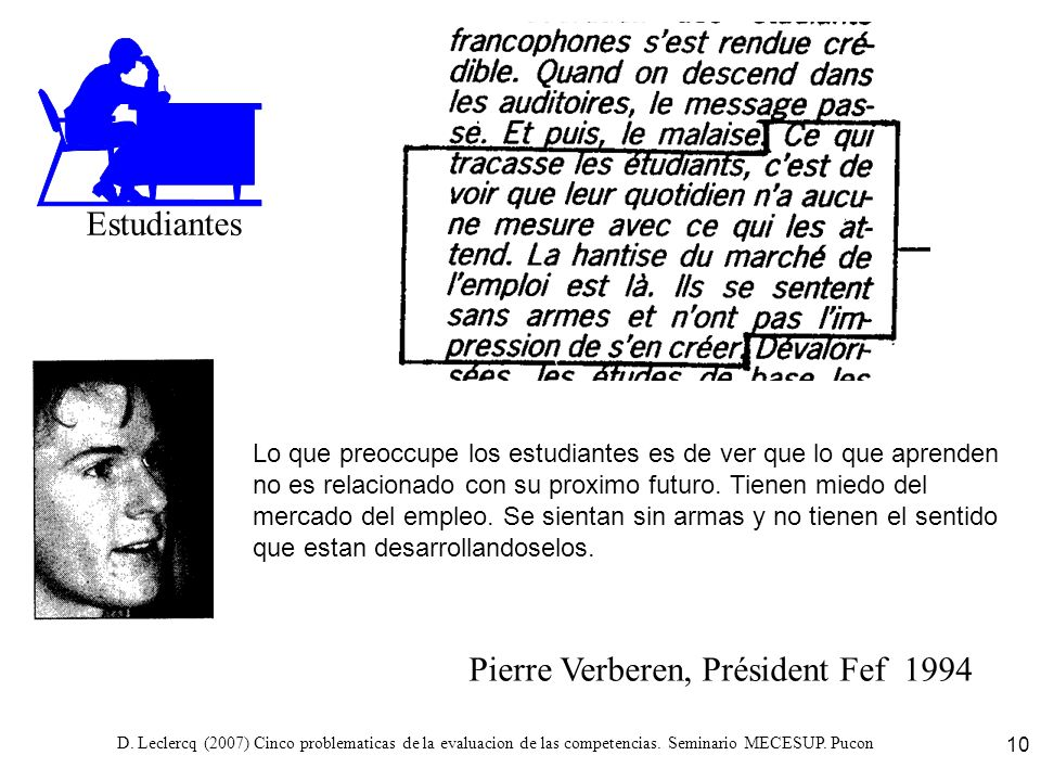 D. Leclercq (2007) Cinco problematicas de la evaluacion de las competencias. Seminario MECESUP. Pucon 10 Pierre Verberen, Président Fef 1994 Estudiant