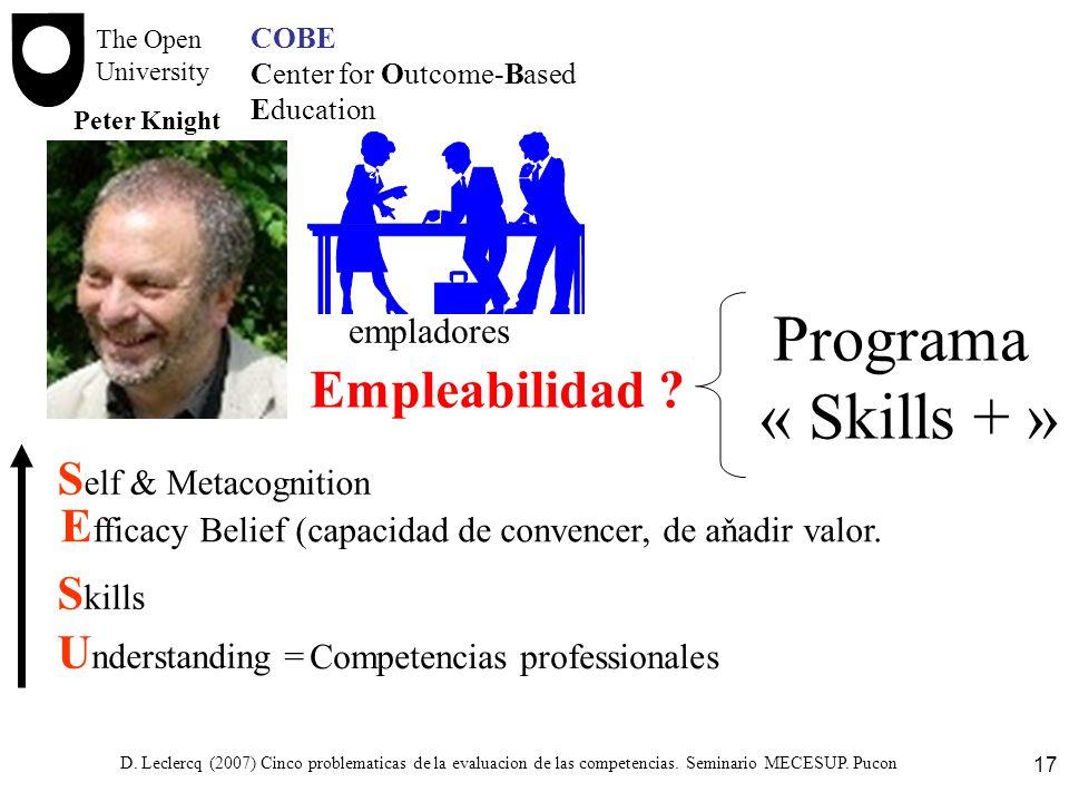 D. Leclercq (2007) Cinco problematicas de la evaluacion de las competencias. Seminario MECESUP. Pucon 17 COBE Center for Outcome-Based Education U nde