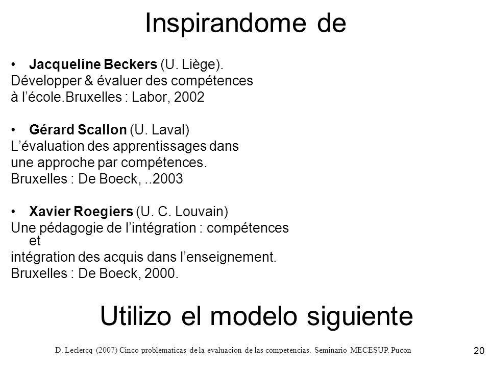 D. Leclercq (2007) Cinco problematicas de la evaluacion de las competencias. Seminario MECESUP. Pucon 20 Inspirandome de Jacqueline Beckers (U. Liège)