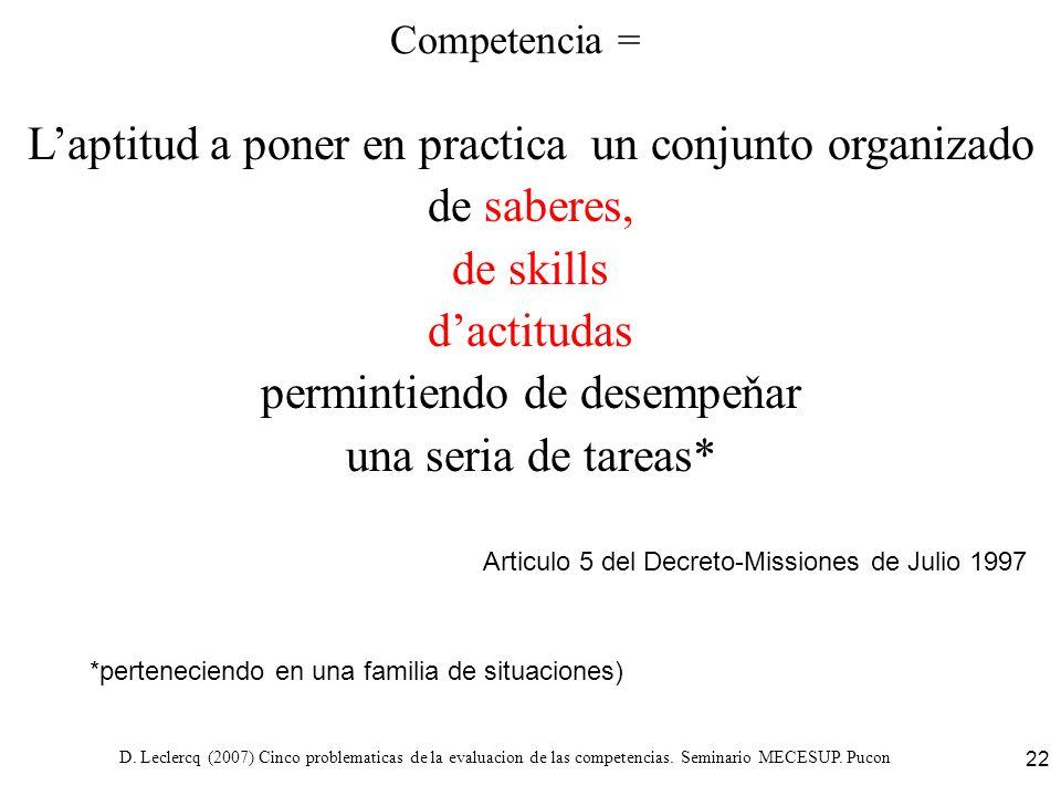 D. Leclercq (2007) Cinco problematicas de la evaluacion de las competencias. Seminario MECESUP. Pucon 22 Competencia = Laptitud a poner en practica un