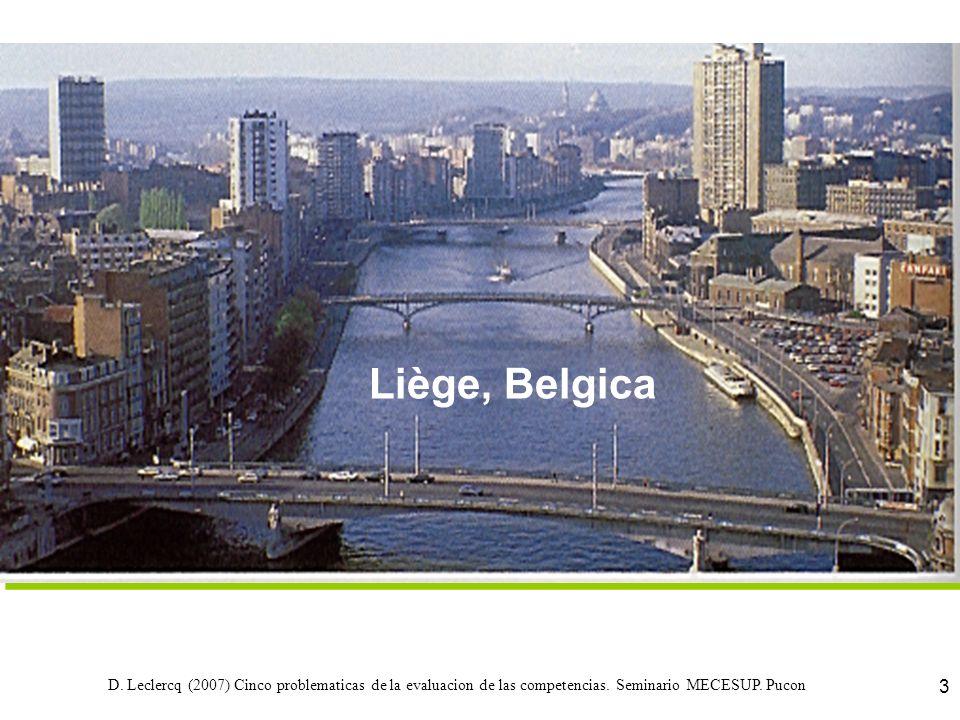 D. Leclercq (2007) Cinco problematicas de la evaluacion de las competencias. Seminario MECESUP. Pucon 3 Liège, Belgica