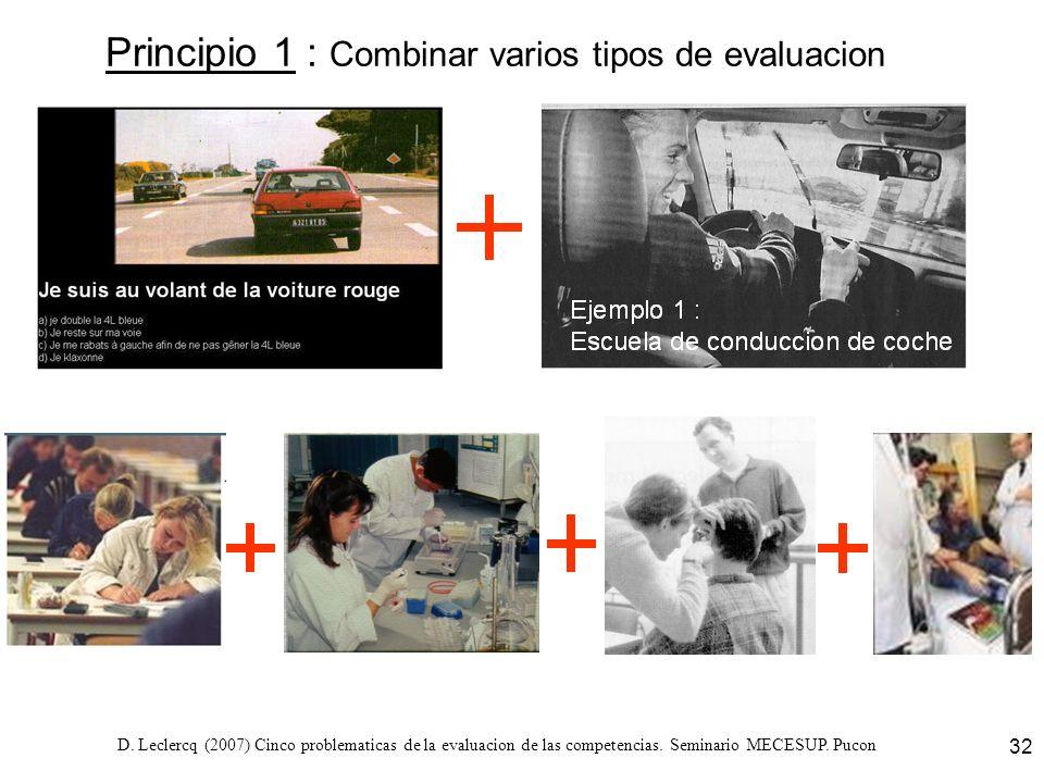 D. Leclercq (2007) Cinco problematicas de la evaluacion de las competencias. Seminario MECESUP. Pucon 32 Principio 1 : Combinar varios tipos de evalua