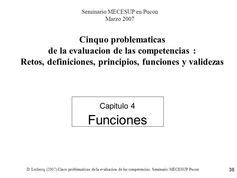 D. Leclercq (2007) Cinco problematicas de la evaluacion de las competencias. Seminario MECESUP. Pucon 36 Capitulo 4 Funciones Cinquo problematicas de