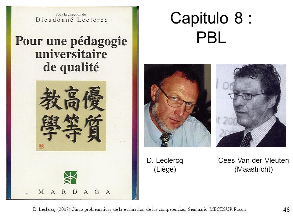 D. Leclercq (2007) Cinco problematicas de la evaluacion de las competencias. Seminario MECESUP. Pucon 48 Capitulo 8 : PBL D. Leclercq (Liège) Cees Van