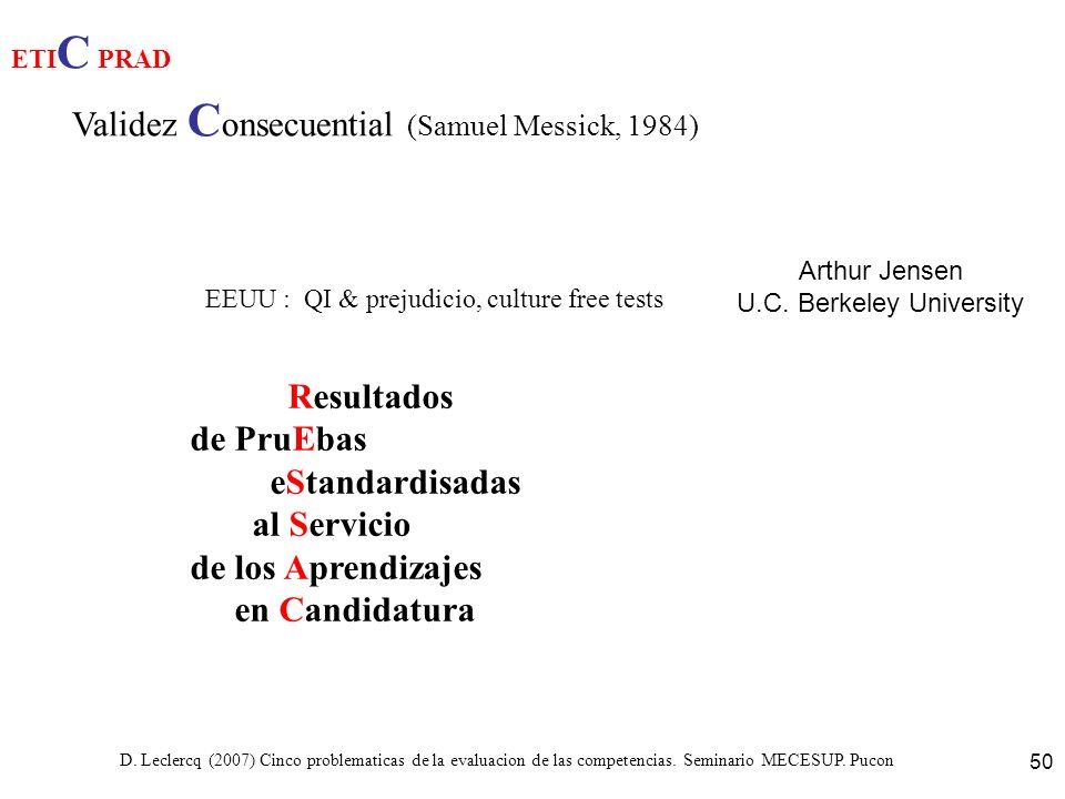 D. Leclercq (2007) Cinco problematicas de la evaluacion de las competencias. Seminario MECESUP. Pucon 50 ETI C PRAD Validez C onsecuential (Samuel Mes