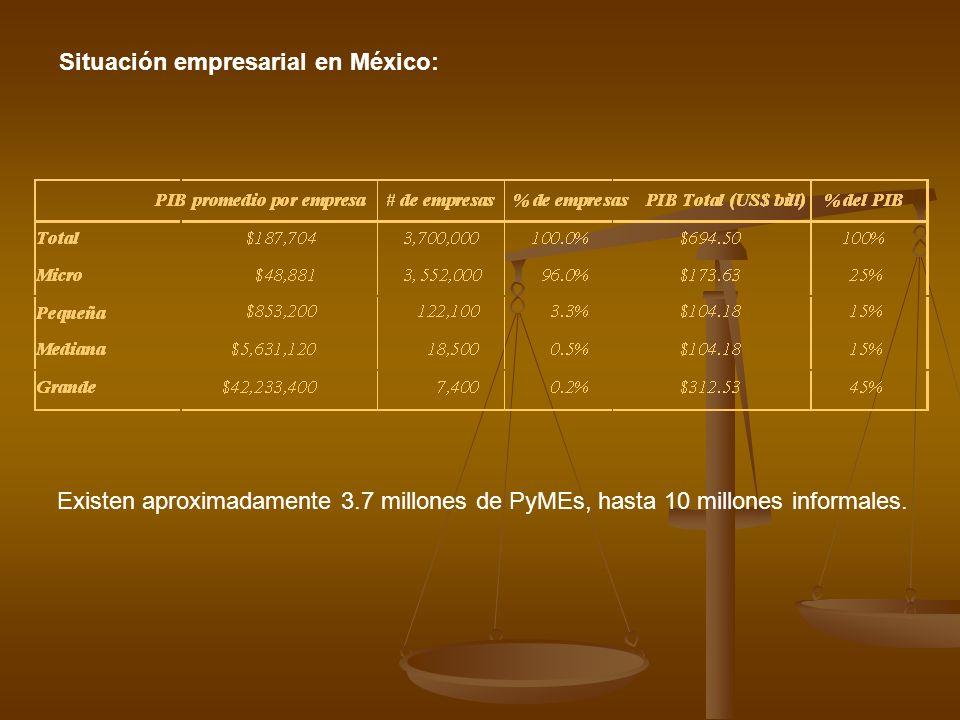 Situación empresarial en México: Existen aproximadamente 3.7 millones de PyMEs, hasta 10 millones informales.