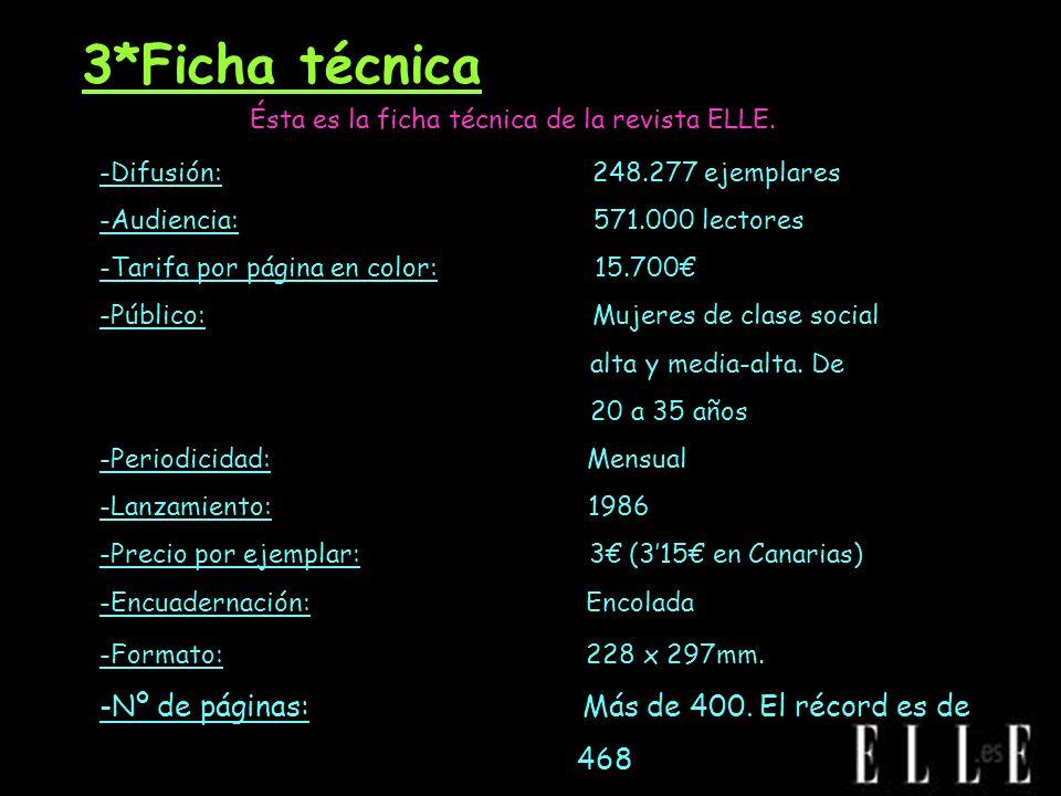3*Ficha técnica Ésta es la ficha técnica de la revista ELLE. -Difusión: 248.277 ejemplares -Audiencia: 571.000 lectores -Tarifa por página en color: 1