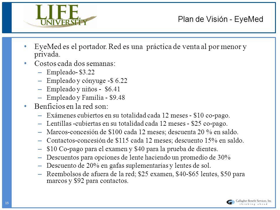 Plan de Visión - EyeMed EyeMed es el portador. Red es una práctica de venta al por menor y privada. Costos cada dos semanas: – Empleado- $3.22 – Emple