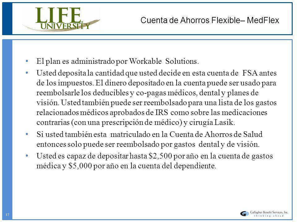 Cuenta de Ahorros Flexible– MedFlex El plan es administrado por Workable Solutions. Usted deposita la cantidad que usted decide en esta cuenta de FSA
