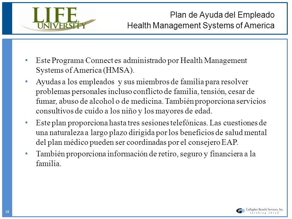 Plan de Ayuda del Empleado Health Management Systems of America Este Programa Connect es administrado por Health Management Systems of America (HMSA).