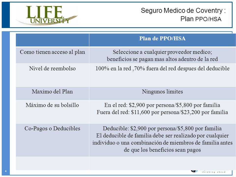 Plan de PPO/HSA Como tienen acceso al planSeleccione a cualquier proveedor medico; beneficios se pagan mas altos adentro de la red Nivel de reembolso1
