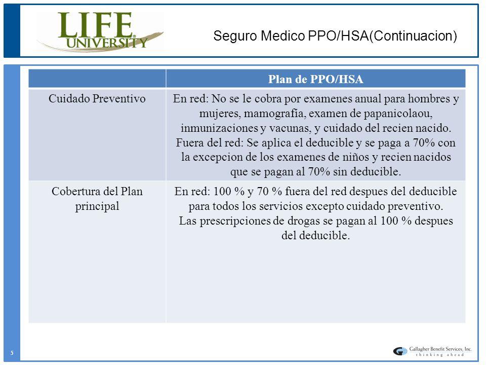 Plan de PPO/HSA Cuidado PreventivoEn red: No se le cobra por examenes anual para hombres y mujeres, mamografía, examen de papanicolaou, inmunizaciones
