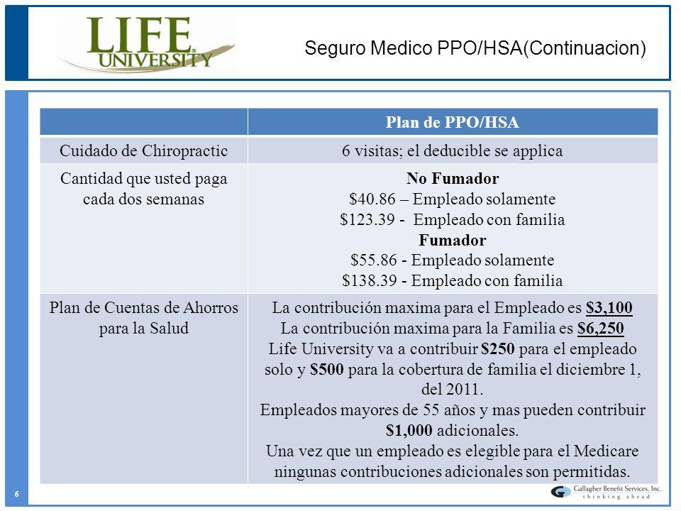 Plan de PPO/HSA Cuidado de Chiropractic6 visitas; el deducible se applica Cantidad que usted paga cada dos semanas No Fumador $40.86 – Empleado solame