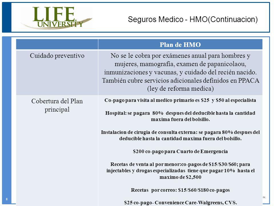 Plan de HMO Cuidado preventivoNo se le cobra por exámenes anual para hombres y mujeres, mamografía, examen de papanicolaou, inmunizaciones y vacunas,