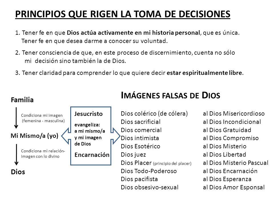 PRINCIPIOS QUE RIGEN LA TOMA DE DECISIONES 1. Tener fe en que Dios actúa activamente en mi historia personal, que es única. Tener fe en que desea darm