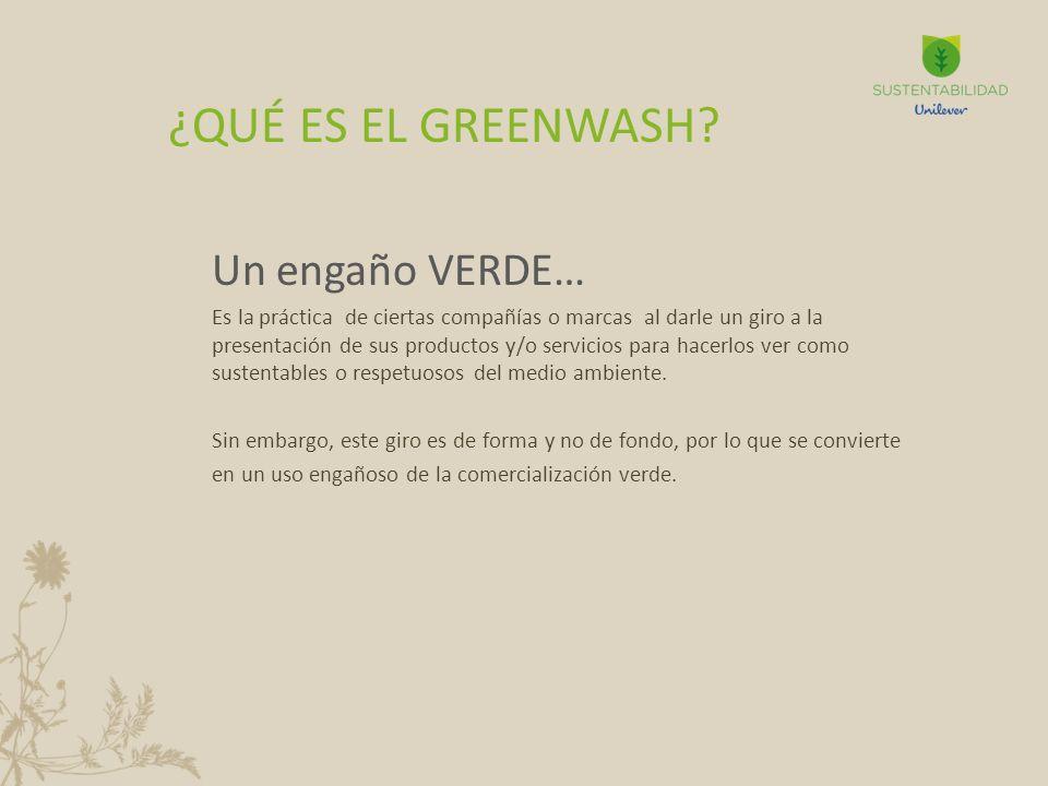 Un engaño VERDE… Es la práctica de ciertas compañías o marcas al darle un giro a la presentación de sus productos y/o servicios para hacerlos ver como sustentables o respetuosos del medio ambiente.
