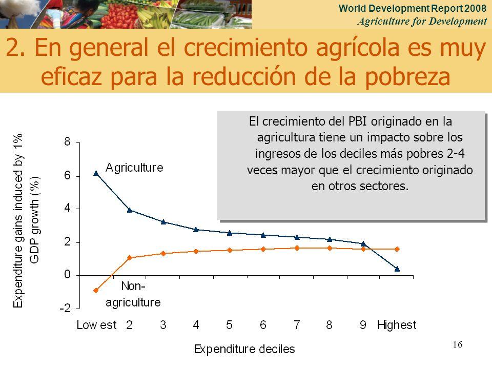 World Development Report 2008 Agriculture for Development 16 El crecimiento del PBI originado en la agricultura tiene un impacto sobre los ingresos de los deciles más pobres 2-4 veces mayor que el crecimiento originado en otros sectores.