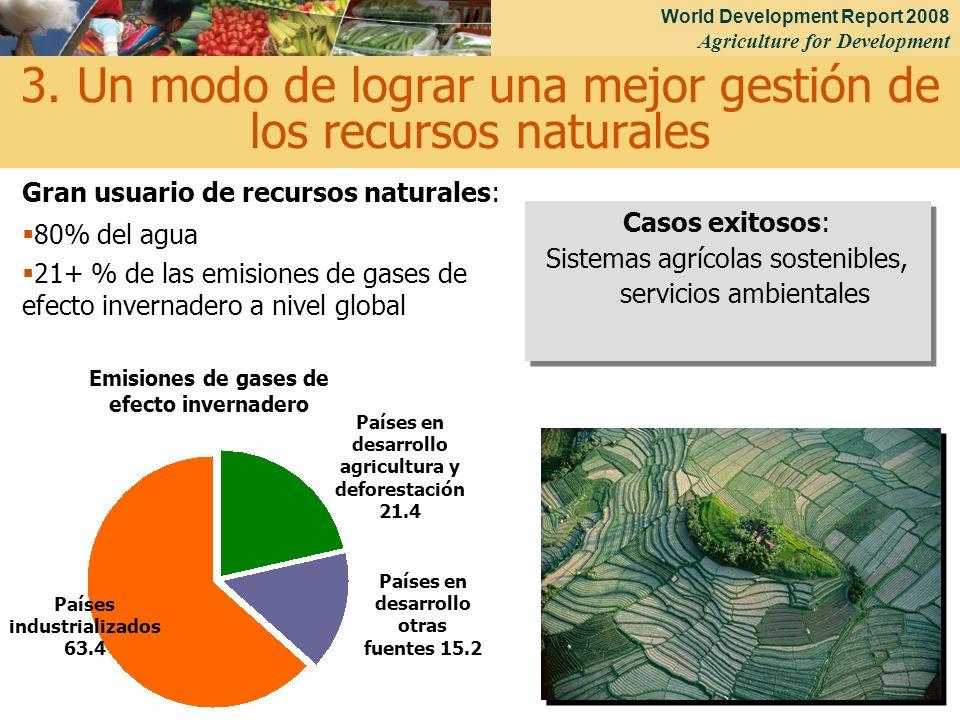 World Development Report 2008 Agriculture for Development 17 Gran usuario de recursos naturales: 80% del agua 21+ % de las emisiones de gases de efect