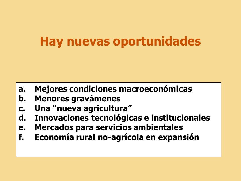 Hay nuevas oportunidades a.Mejores condiciones macroeconómicas b.Menores gravámenes c.Una nueva agricultura d.Innovaciones tecnológicas e institucionales e.Mercados para servicios ambientales f.Economía rural no-agrícola en expansión