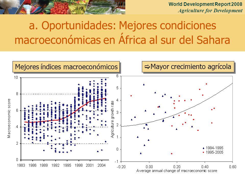 World Development Report 2008 Agriculture for Development 19 a. Oportunidades: Mejores condiciones macroeconómicas en África al sur del Sahara Mejores