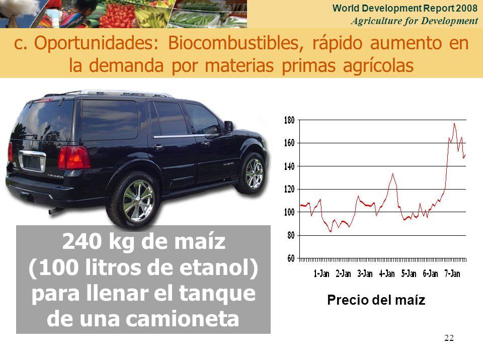 World Development Report 2008 Agriculture for Development 22 240 kg de maíz (100 litros de etanol) para llenar el tanque de una camioneta c. Oportunid