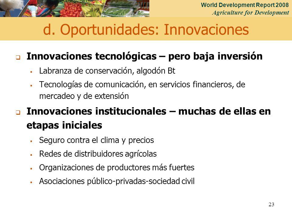 World Development Report 2008 Agriculture for Development 23 Innovaciones tecnológicas – pero baja inversión Labranza de conservación, algodón Bt Tecn