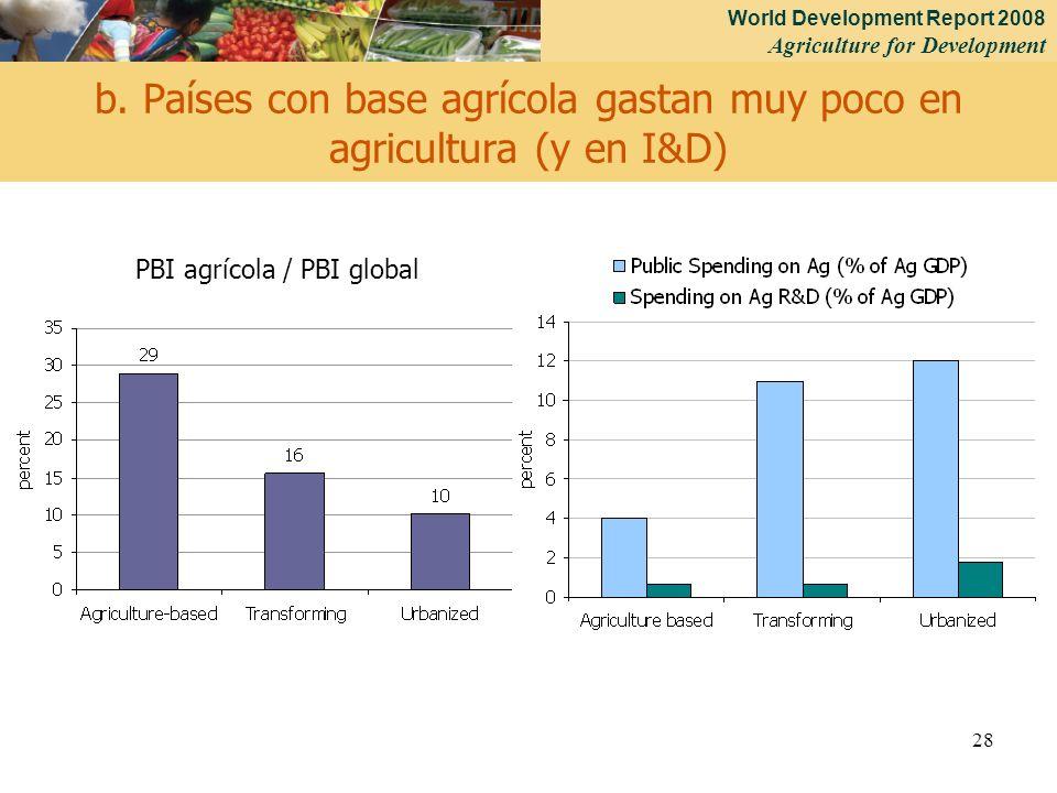 World Development Report 2008 Agriculture for Development 28 b. Países con base agrícola gastan muy poco en agricultura (y en I&D) PBI agrícola / PBI