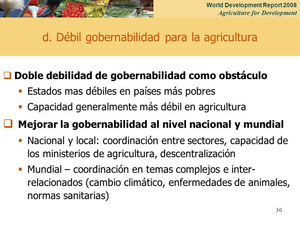 World Development Report 2008 Agriculture for Development 30 d. Débil gobernabilidad para la agricultura Doble debilidad de gobernabilidad como obstác