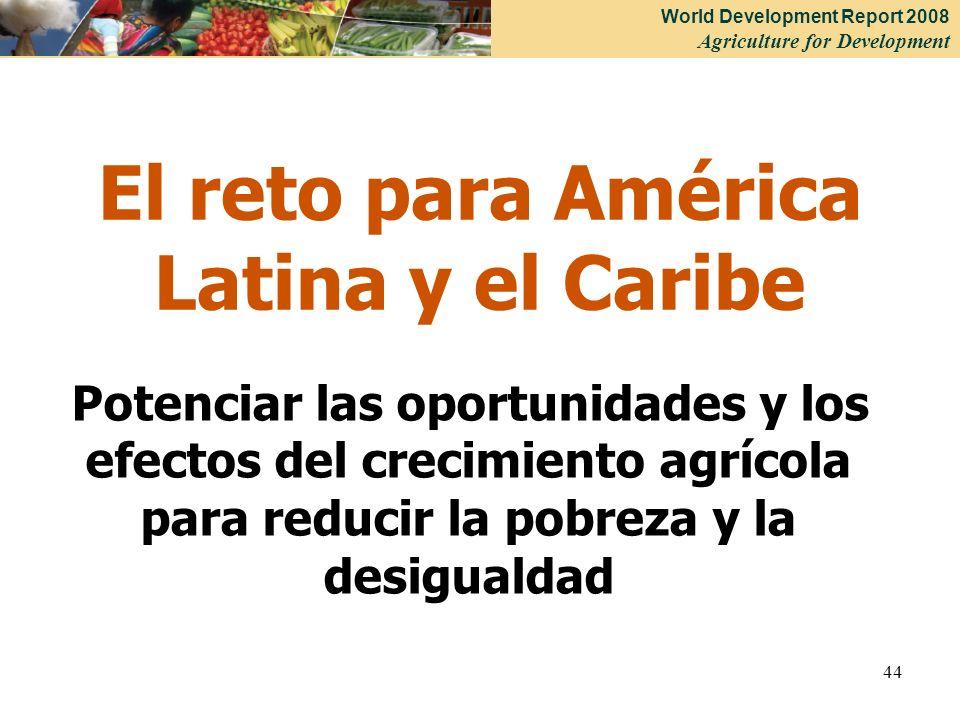 World Development Report 2008 Agriculture for Development 44 El reto para América Latina y el Caribe Potenciar las oportunidades y los efectos del crecimiento agrícola para reducir la pobreza y la desigualdad