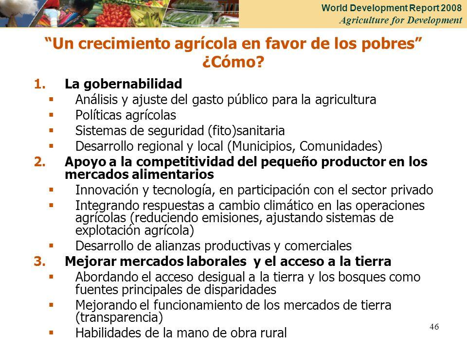 World Development Report 2008 Agriculture for Development 46 1.La gobernabilidad Análisis y ajuste del gasto público para la agricultura Políticas agr