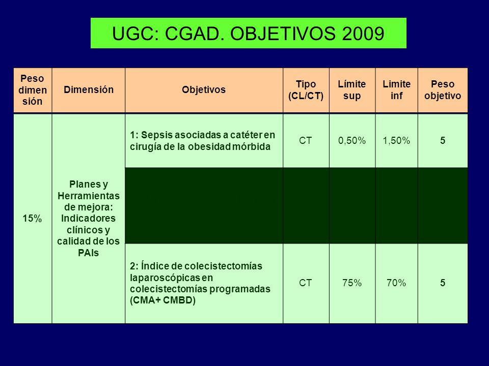 UGC: CGAD. OBJETIVOS 2009 Peso dimen sión DimensiónObjetivos Tipo (CL/CT) Límite sup Limite inf Peso objetivo 15% Planes y Herramientas de mejora: Ind
