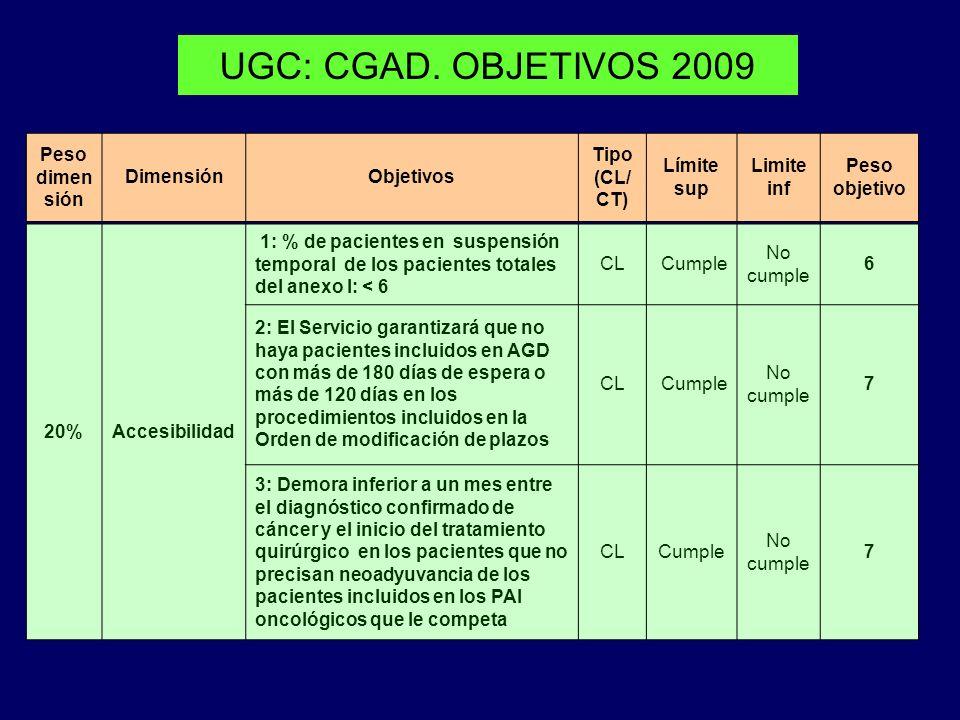 UGC: CGAD. OBJETIVOS 2009 Peso dimen sión DimensiónObjetivos Tipo (CL/ CT) Límite sup Limite inf Peso objetivo 20%Accesibilidad 1: % de pacientes en s