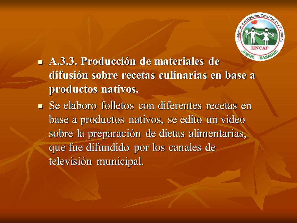 A.3.3. Producción de materiales de difusión sobre recetas culinarias en base a productos nativos. A.3.3. Producción de materiales de difusión sobre re