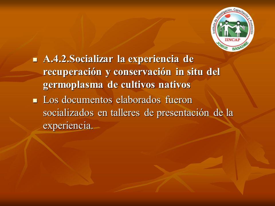 A.4.2.Socializar la experiencia de recuperación y conservación in situ del germoplasma de cultivos nativos A.4.2.Socializar la experiencia de recupera
