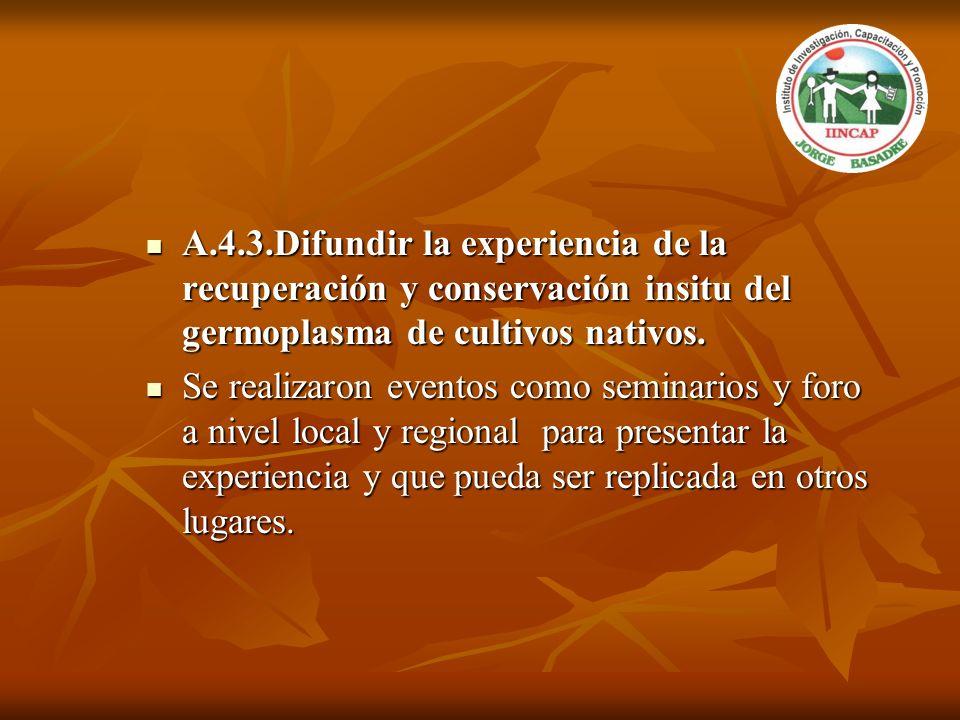 A.4.3.Difundir la experiencia de la recuperación y conservación insitu del germoplasma de cultivos nativos. A.4.3.Difundir la experiencia de la recupe