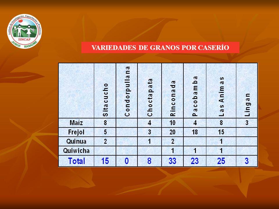 VARIEDADES DE GRANOS POR CASERÍO