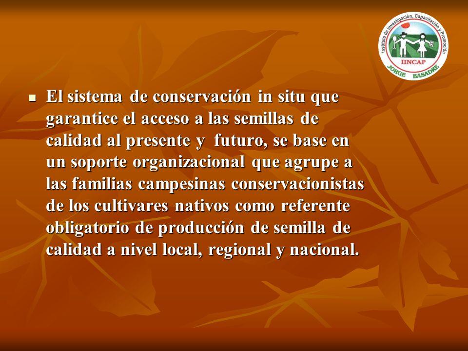 El sistema de conservación in situ que garantice el acceso a las semillas de calidad al presente y futuro, se base en un soporte organizacional que ag