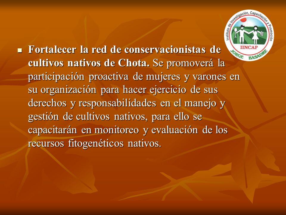 Fortalecer la red de conservacionistas de cultivos nativos de Chota. Se promoverá la participación proactiva de mujeres y varones en su organización p