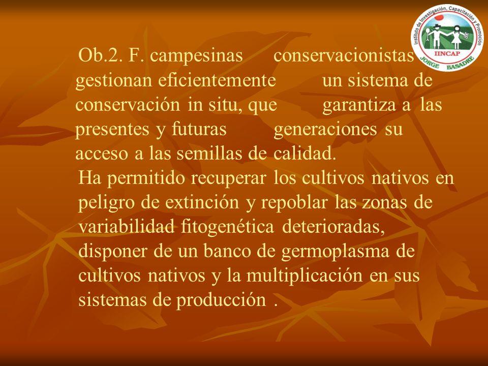 Ob.2. F. campesinas conservacionistas gestionan eficientemente un sistema de conservación in situ, que garantiza a las presentes y futuras generacione