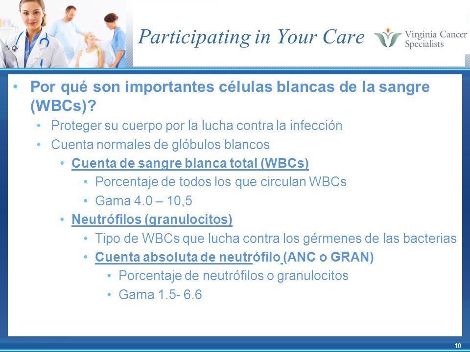 10 Participating in Your Care Por qué son importantes células blancas de la sangre (WBCs)? Proteger su cuerpo por la lucha contra la infección Cuenta