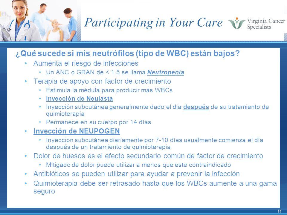 11 Participating in Your Care ¿Qué sucede si mis neutrófilos (tipo de WBC) están bajos? Aumenta el riesgo de infecciones Un ANC o GRAN de < 1.5 se lla