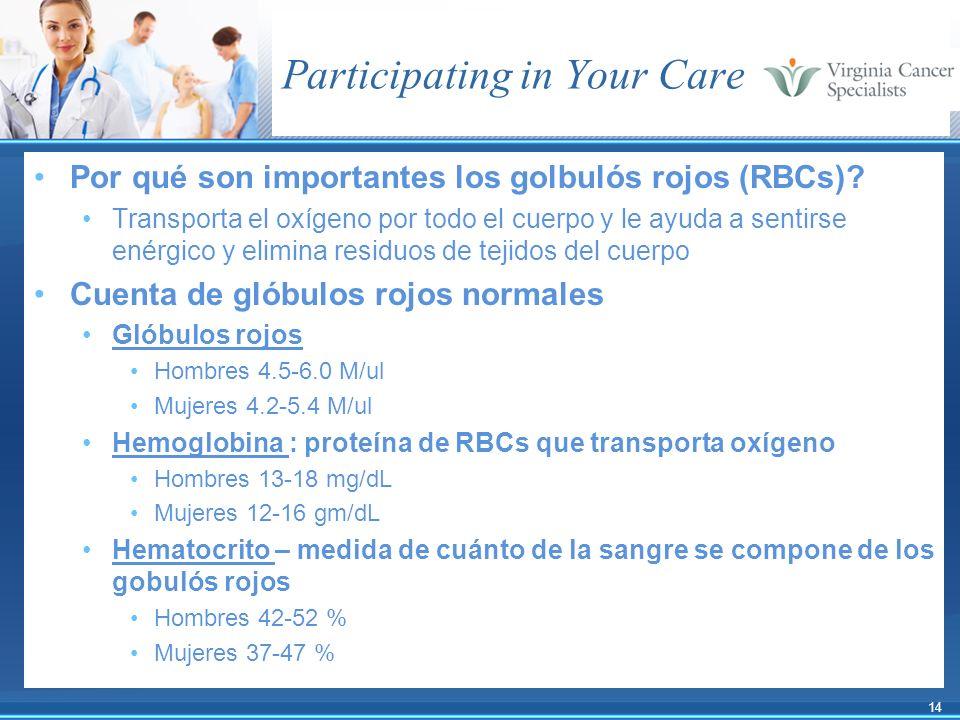 14 Participating in Your Care Por qué son importantes los golbulós rojos (RBCs)? Transporta el oxígeno por todo el cuerpo y le ayuda a sentirse enérgi