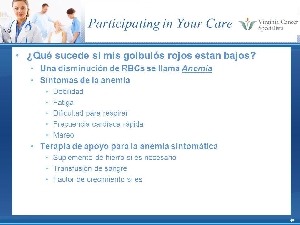 15 Participating in Your Care ¿Qué sucede si mis golbulós rojos estan bajos? Una disminución de RBCs se llama Anemia Síntomas de la anemia Debilidad F